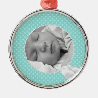 Lunares militares del bebé y del trullo adorno redondo plateado