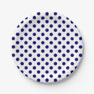 Lunares modernos de moda de los azules marinos en platos de papel