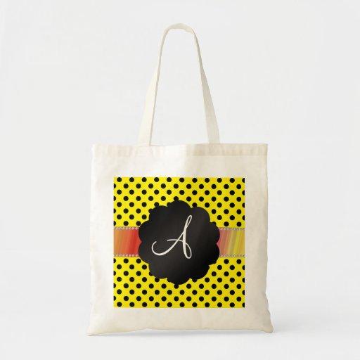 Lunares negros amarillos del monograma bolsa tela barata
