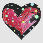 Lunares negros de los pegatinas lindos del corazón pegatina en forma de corazón