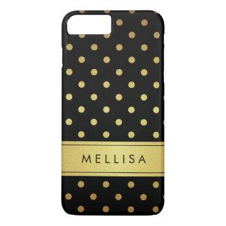 Lunares negros modernos del brillo del oro funda iPhone 7 plus