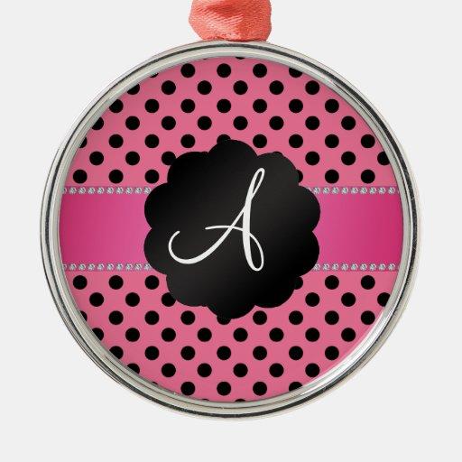 Lunares negros rosados del monograma adornos
