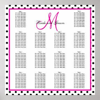 Lunares negros rosados que casan la carta del asie póster