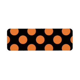 Lunares negros y anaranjados etiqueta de remite