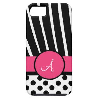 Lunares negros y blancos con el estampado de zebra iPhone 5 Case-Mate coberturas