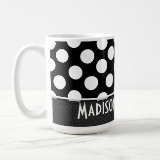 Lunares negros y blancos taza
