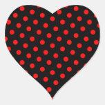Lunares negros y rojos calcomanía corazón personalizadas