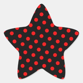 Lunares negros y rojos pegatina en forma de estrella