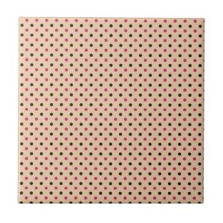 lunares negros y rosados en la crema oscura azulejo cuadrado pequeño