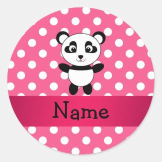 Lunares personalizados del blanco del rosa de la p etiquetas