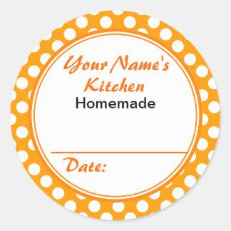 Lunares personalizados del naranja de la etiqueta