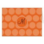 Lunares personalizados del naranja de la inicial d felicitaciones