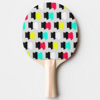 Lunares pintados retros coloridos del movimiento pala de tenis de mesa