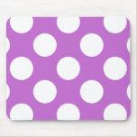 Lunares, puntos (modelo punteado) - blanco púrpura alfombrilla de ratón