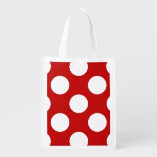 Lunares, puntos (modelo punteado) - blanco rojo bolsa para la compra