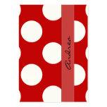 Lunares, puntos (modelo punteado) - blanco rojo tarjetas de negocios