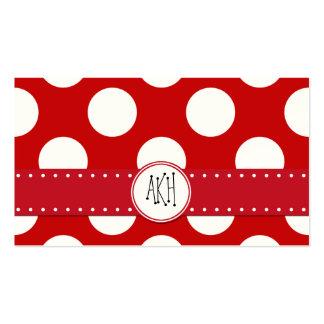 Lunares, puntos (modelo punteado) - blanco rojo plantilla de tarjeta personal