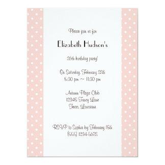 Lunares, puntos (modelo punteado) - blanco rosado invitacion personal