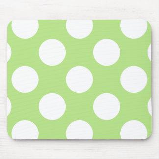 Lunares, puntos (modelo punteado) - blanco verde alfombrilla de ratón
