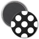 Lunares, puntos (modelo punteado) - negro blanco imán redondo 7 cm