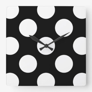 Lunares, puntos (modelo punteado) - negro blanco reloj cuadrado