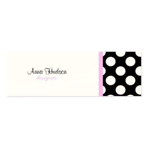 Lunares, puntos (modelo punteado) - negro blanco tarjeta de visita
