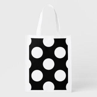 Lunares, puntos (modelo punteado) - negro blanco bolsa para la compra