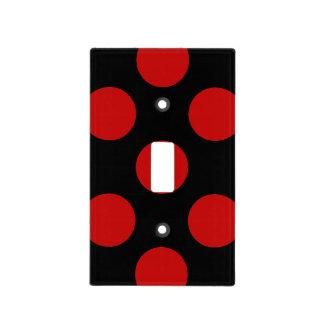 Lunares, puntos (modelo punteado) - negro rojo tapas para interruptores