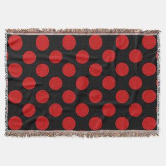 Lunares, puntos (modelo punteado) - negro rojo manta