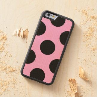 Lunares, puntos (modelo punteado) - negro rosado funda de iPhone 6 bumper arce