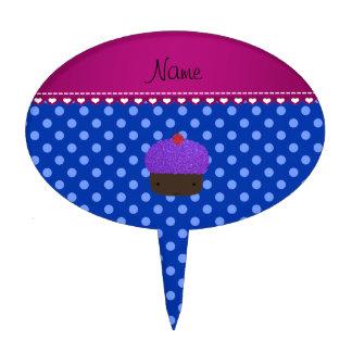 Lunares púrpuras conocidos personalizados del azul decoración para tarta