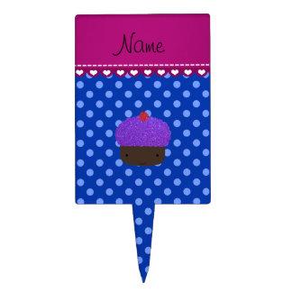 Lunares púrpuras conocidos personalizados del azul decoraciones de tartas
