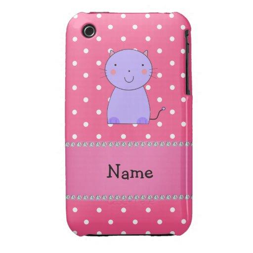 Lunares púrpuras conocidos personalizados del rosa Case-Mate iPhone 3 fundas