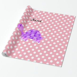Lunares púrpuras conocidos personalizados del rosa papel de regalo