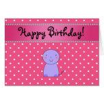 Lunares púrpuras conocidos personalizados del rosa tarjeta