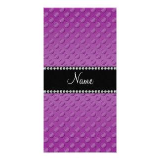 Lunares púrpuras conocidos personalizados plantilla para tarjeta de foto