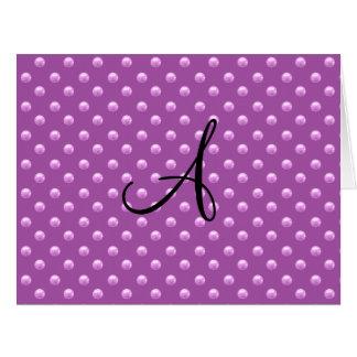 Lunares púrpuras de la perla de la lila del monogr tarjeton