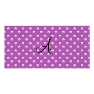 Lunares púrpuras de la perla de la lila del monogr tarjeta fotografica