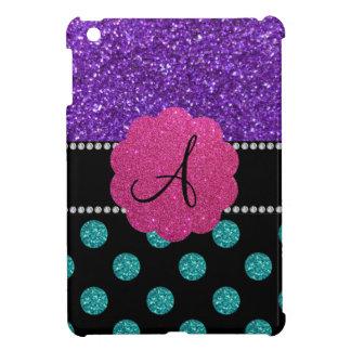 Lunares púrpuras del brillo de la turquesa del mon iPad mini fundas