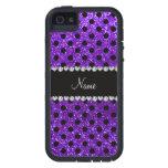 Lunares púrpuras del negro del brillo del añil con iPhone 5 protector