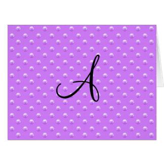 Lunares púrpuras en colores pastel de la perla del tarjeta