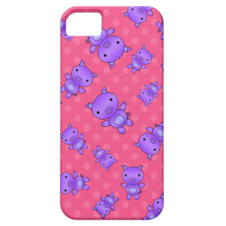 Lunares púrpuras lindos del rosa del cerdo iPhone 5 Case-Mate protector