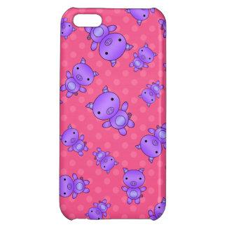 Lunares púrpuras lindos del rosa del cerdo