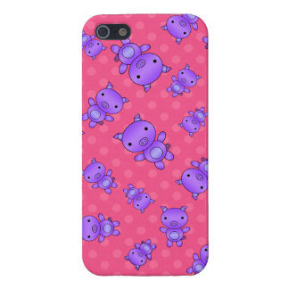 Lunares púrpuras lindos del rosa del cerdo iPhone 5 fundas