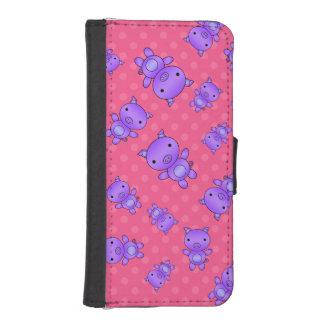 Lunares púrpuras lindos del rosa del cerdo funda cartera para teléfono