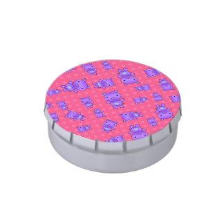 Lunares púrpuras lindos del rosa del cerdo latas de caramelos