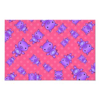 Lunares púrpuras lindos del rosa del cerdo impresión fotográfica