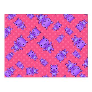 Lunares púrpuras lindos del rosa del cerdo postales