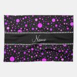 Lunares púrpuras negros conocidos personalizados toallas de cocina