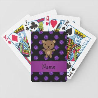 Lunares púrpuras personalizados del brillo del oso baraja cartas de poker